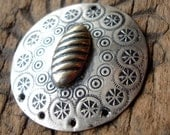 Moroccan large round tarnished hand engraved earring or pendant base with holes