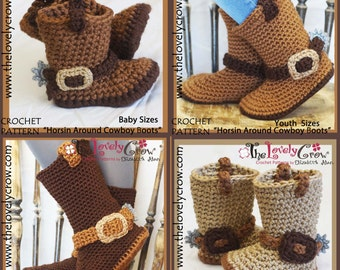Cowboy Boots Crochet Patterns All Sizes Baby, Toddler, Youth, Women