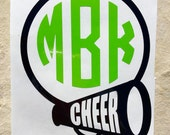 Monogram Cheer decal, Cheer decal, Cheer monogram decal