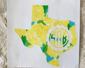 Lily Pulitzer Texas Decal,  Monogrammed Texas Decal, Monogram State Decal, Personalized Decal, Texas Sticker, Vinyl Decal, Car Decal