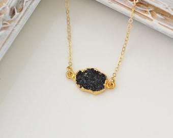 Crystal Necklaces, Black Druzy Necklace, Black Druzy Pendant, Small Druzy, Gold Druzy Necklace,