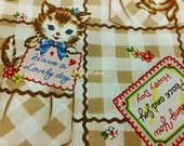 Cat and card, brown, fat quarter, pure cotton fabric