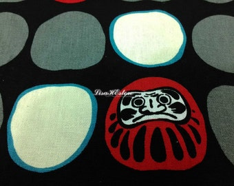 Japanese daruma dolls, in red and gray, on black, 1/2 yard, pure cotton fabric