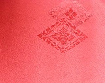 DIAMOND PAULOWNIA  Vintage Japanese Kimono silk dyed woven Red/Brown 14 x 72 inches