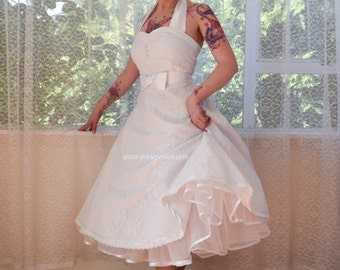1950s Rockabilly Wedding Dress 'Clarissa' with Lace Overlay, Sweetheart Neckline, Tea Length Skirt and Petticoat - Custom made to fit