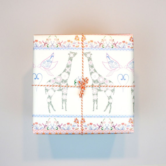 Giraffe And Rocking Horse Wrapping Paper