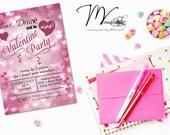Valentine's Party Invitation, Bokeh Valentine Party Invitations, Bokeh Hearts Valentine Invitation  - Digital File You Print
