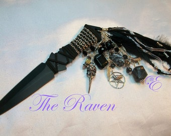 "The Raven Athame - Special Edition  -- 7.5"", Black Blade, Embellished to honor the Raven"