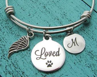 pet sympathy gift, pet memorial bracelet jewelry, pet loss gift, dog memorial cat, pet remembrance jewelry, loss of pet, in loving memory