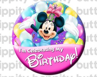 """Disney Minnie Mouse Birthday 3"""" Button"""