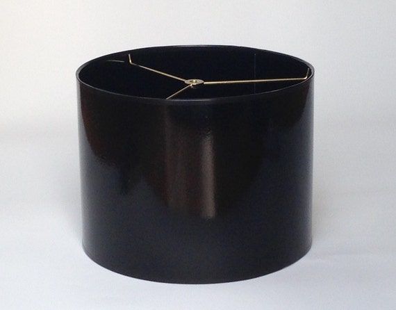 sample sale small drum lamp shade in glossy black with glossy. Black Bedroom Furniture Sets. Home Design Ideas