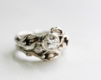 White Sapphire & White Topaz Engagement Rings, Leaf Ring, Silver Branch Ring,Twig Ring, Leaf Engagement Ring