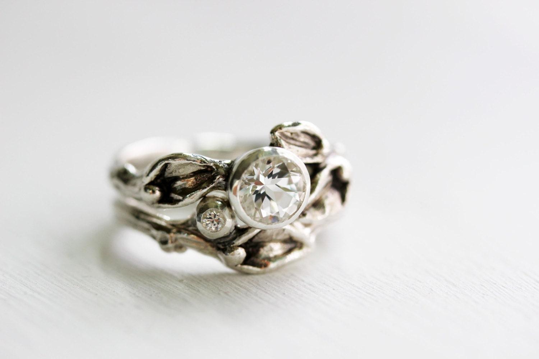 white sapphire white topaz engagement rings leaf ring. Black Bedroom Furniture Sets. Home Design Ideas