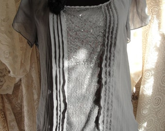 Holiday top grey sparkly sheer, whimsy