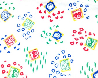 1.75 yards 1980's Baby Animal Knit fabric / baby clothing fabric / soft cotton / knit stretch / primary colors / nursery fabric panda racoon