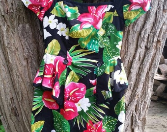 Gorgeous 80s Hawaiian Floral Party Dress Size 8 By Barbara Barbara