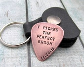Groom Gift - Personalized Guitar Pick with Leather Key Chain Holder - Hand Stamped Guitar Pick - Wedding Gift for Him Grooms Pick