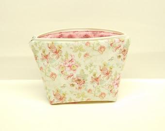 cream pink makeup bag pink floral makeup pouch shabby romantic chic zipper pouch pink cream zipper bag pastel makeup bag