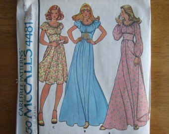 McCALL'S Pattern 4481 Misses' Dress      1975