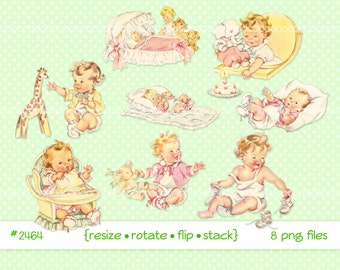 Digital Clipart, instant download, vintage baby clip art, toddlers, infant, high chair, baby girl, baby toys, printable png files 2464