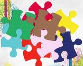 Scrapbooking/ Autism Awareness - 20 Giant Puzzle Pieces - Large - Solid Color Card Stock