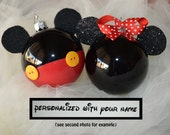 Disney Ornament Mickey Mouse OR Minnie Mouse Personalized Christmas Glass Ornament Disney hand painted hand crafted