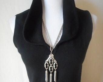 vintage 60's black cashmere sheath column sleeveless dress S/M