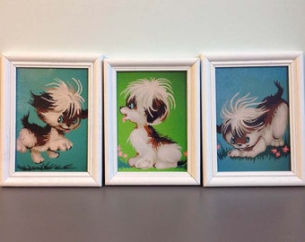 Playful Puppies Mid Century Paint By Number Print Framed Art Set of Three Nursery Art and Decor