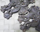 Vintage Pair Ornate Cast Aluminum  Applique Embellishments
