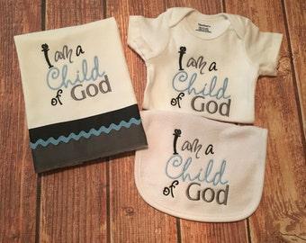 "Baby Boys ""I Am A Child Of God"" Bib, Onesie and Burp Cloth Set"