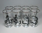 LANBIL set of 8 golf glasses with a platinum band at the top , silhouette