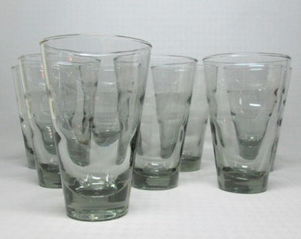 Libbey ripple glasses designed by Freda Diamond , set of 8 gray color , a medium size