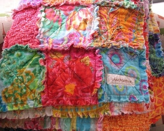 SALE - rag quilt - Kaffe Fassett  bright summer colors  throw size