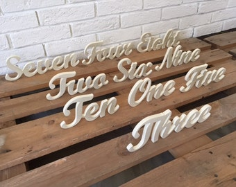 Special table numbers for wedding table decor