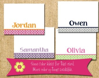 Custom Personalized Note Cards initial name teacher gift personalized gift shower polka dots  stationary hostess gift thank you card