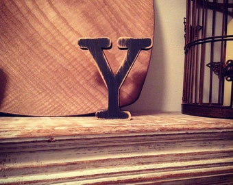 Hand-painted Wooden Letter Y - Freestanding - Typewriter Font - Various sizes, finishes and colours - 30cm