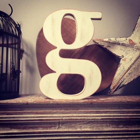 Hand painted wooden letter lowercase g by loveletterhouse for Standing wood letters to paint