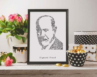 Sigmund Freud - drawing of the psy with Biographical detail in the portrait - Ltd Edition of 100 prints - psychology - A4 - A3