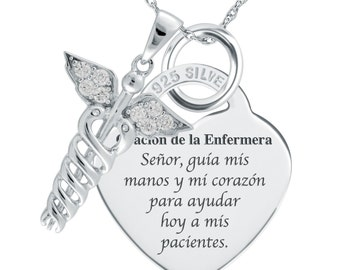 Spanish Nurse's Prayer (Oración de la Enfermera) Necklace/Pendant 925 Silver Heart Shaped (can be personalized)