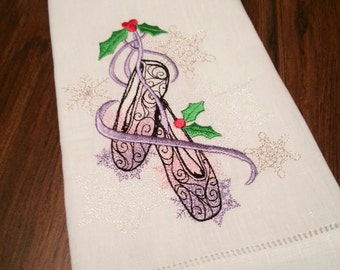 Embroidered Linen Towel: Sugar Plum Series