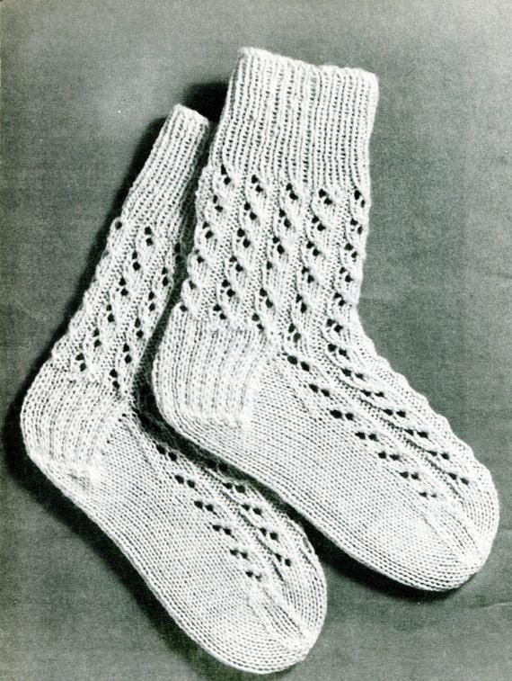 Knitting Pattern For Fancy Socks : 1960s Knitted Socks for Children Fancy Socks Pattern