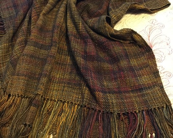 Handwoven Wool Blanket in Beautiful Fall Colors