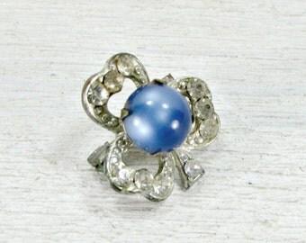 Antique Art Deco Brooch Pin, Shamrock Clover Brooch, Pave Rhinestone Crystal Brooch, Silver Pot Metal, 1930s Art Nouveau Deco Jewelry