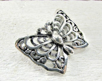 Vintage NAPIER Silver Butterfly Brooch Pin, Silver Filigree Brooch, 1970s Retro Animal Insect Bug Jewelry, Co-Worker Friend Girlfriend Gift
