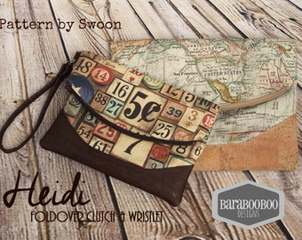 Heidi Foldover Clutches available in 2 sizes, in Tim Holtz Eclectic Elements and Cork leather fabrics purse Clutch
