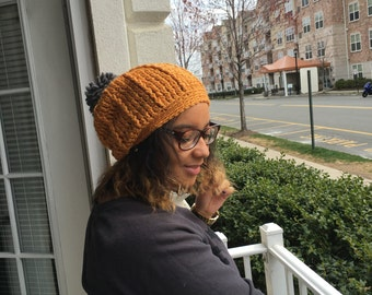 Crochet Slouchy Hat with Pom Pom - LINEN/BRIANT LIME