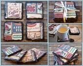 American Retro Natural Slate Coasters - Set of 4 - Early American Style Slate Gift
