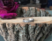 MADE TO ORDER - Sterling silver tree bark texture ring