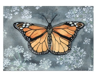 "Butterfly Art Print - Print of Original Monarch Butterfly and Queen Anne's Lace Watercolor Painting - Woodland Home Decor - 8 1/2"" x 11"""