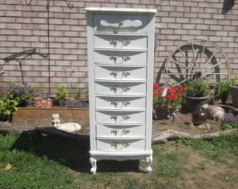white French Provincial Lingerie Chest 5 Drawers Dresser Pink stripe,Romantic Chic,furniture,charming,shabby,chalk painted,white,dove tail